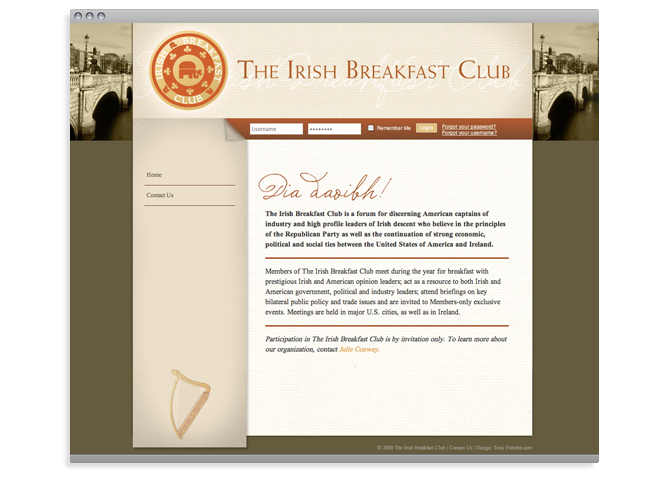 Irish Breakfast Club web site, Irish Breakfast Club.com